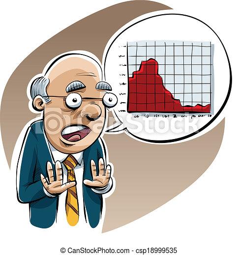 vectors of economist warning a pessimistic cartoon
