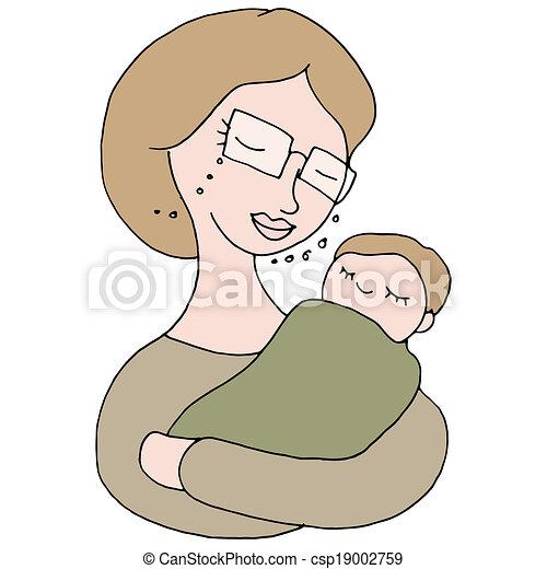 Baby Logo Vector Vector Woman Holding Baby