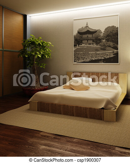 Illustration japon style chambre coucher int rieur for Chambre style british