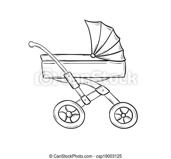 Illustration vecteur de poussette croquis de poussette - Poussette dessin ...