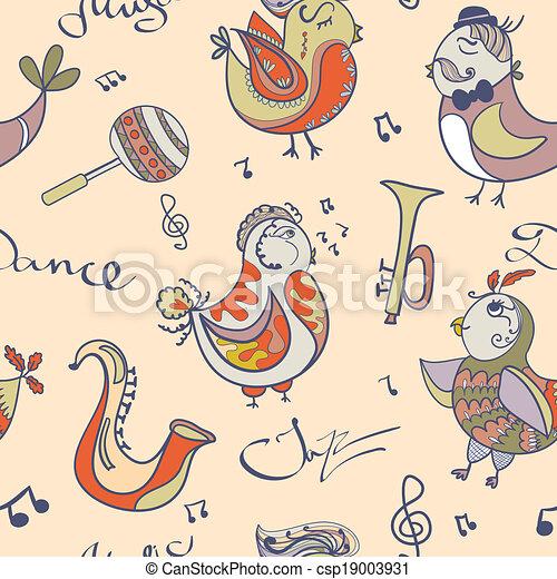 Vectors of jazz concept wallpaper. Birds sing and dancing ...