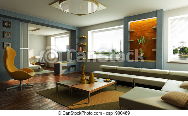 modern lounge room interior - csp1900489