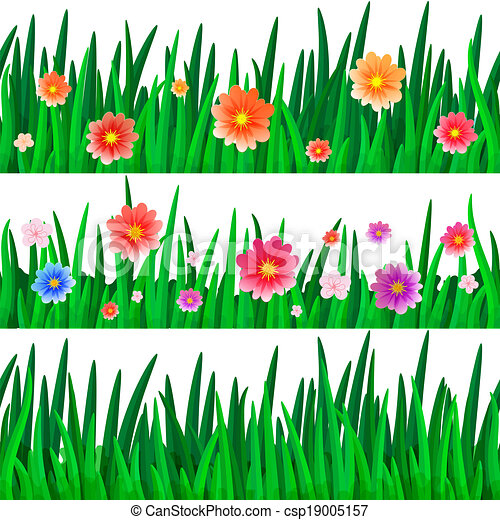 Flowers in Grass Drawing Isolate Grass With Flowers