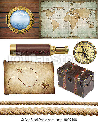 nautical objects set isolated: ship window or porthole, old treasure map, spyglass, brass compass, pirates chest and ropes - csp19007166