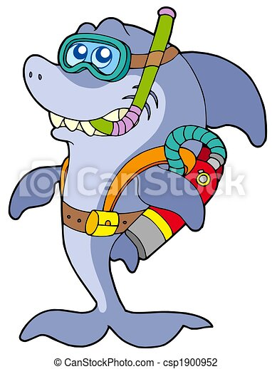 Clip Art of Shark scuba diver - isolated illustration. csp1900952 ...