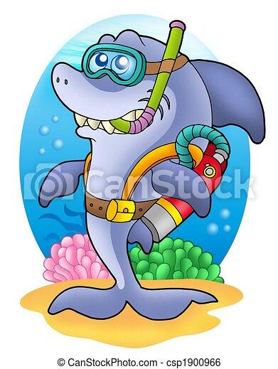 Shark scuba diver on sea bottom - csp1900966