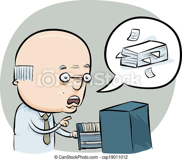 Vector clip art de archivo oficinista un caricatura for Que es un oficinista