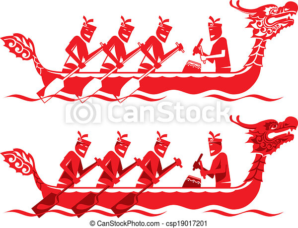 Vector Clipart of Chinese Dragon Boat competition illustration in two styles csp19017201 ...