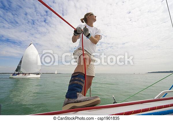 Woman Sailing  - csp1901835