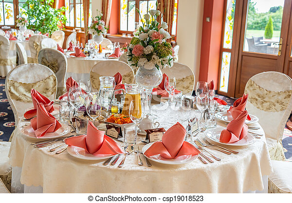 Indoors wedding reception with decor - csp19018523