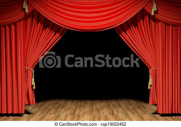 teatro, fase, veludo, vermelho, cortinas - csp19022452