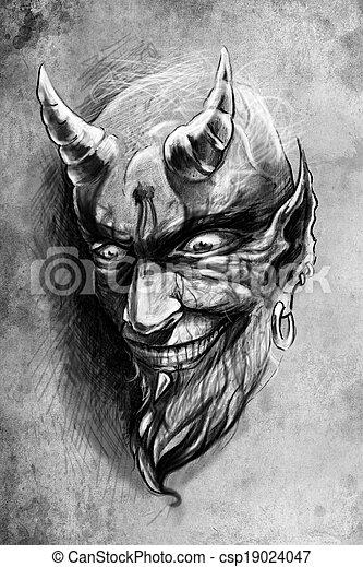 Photo de tatouage dessiner illustration vendange sur papier fait csp19024047 - Dessiner un diable ...