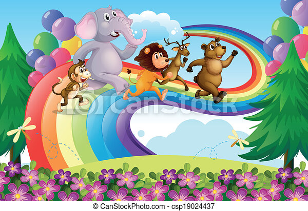 A group of animals at the rainbow - csp19024437