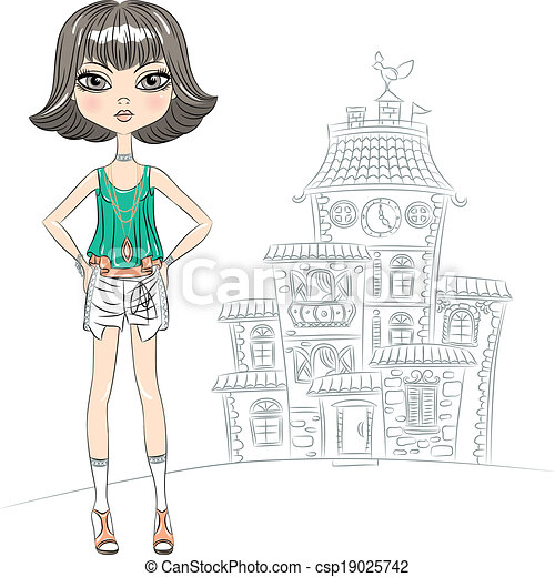 Vector hipster fashion girl top model in the city - csp19025742