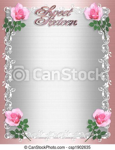 Sweet Sixteen Invitation Pink Satin  - csp1902635
