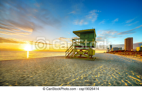 Miami South Beach sunrise - csp19026414