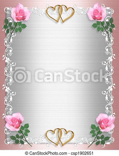 Stock Illustration Wedding invitation Pink Satin Shabby chic