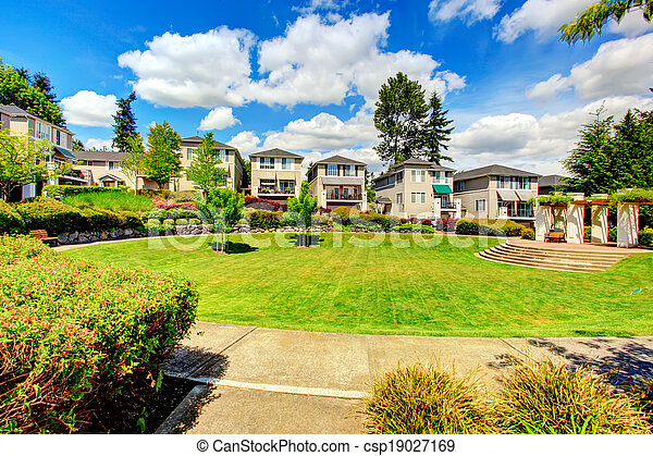 Residential complex with beautiful landscape design - csp19027169