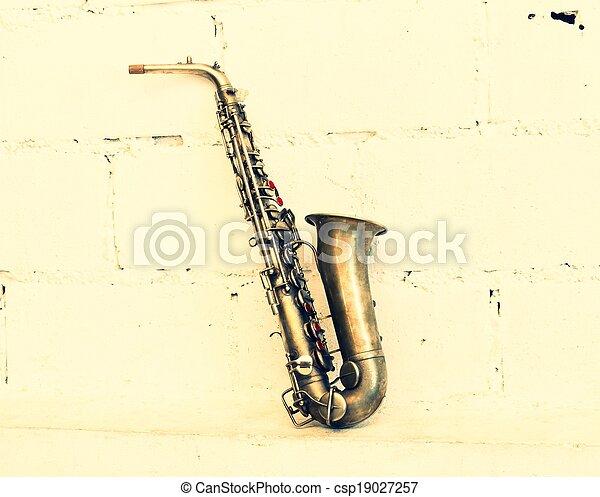 The image of a saxophone (vintage stye) - csp19027257
