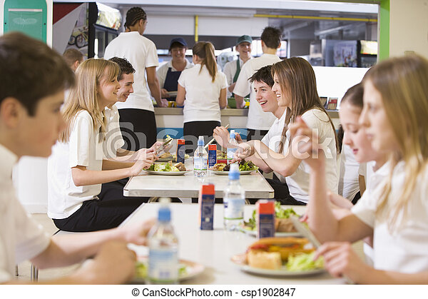 High school students eating in the school cafeteria - csp1902847