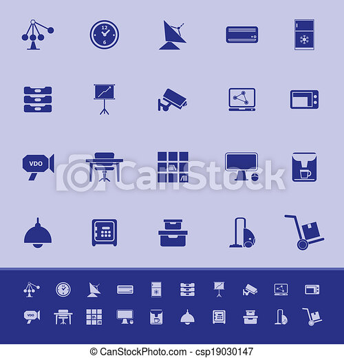General office color icons on blue background - csp19030147