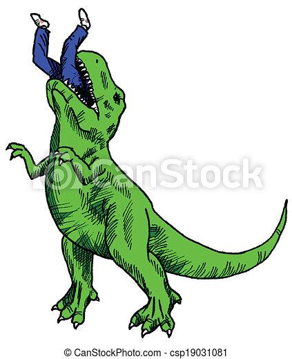 Vector Of Dinosaur Eating Color Tyrannosaurus Rex Having