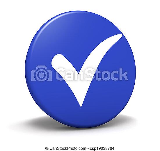 azul, símbolo, cheque, botón, marca - csp19033784