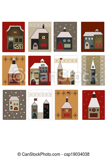 houses set for scrapbooking - csp19034038