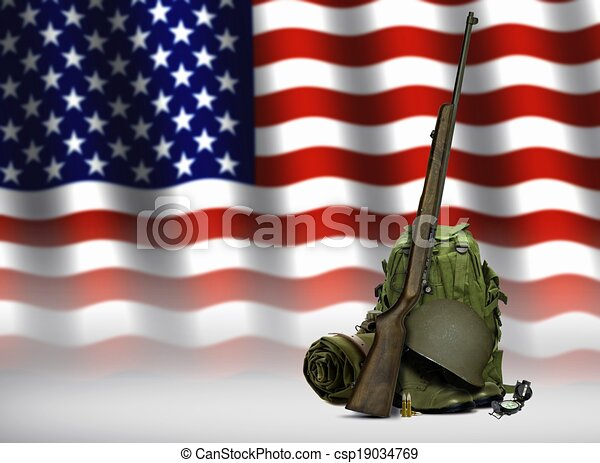 Military Gear and American Flag - csp19034769