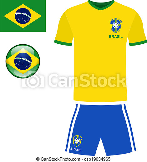 Clip Art Vector of Brazil Football Jersey - Abstract vector image ...