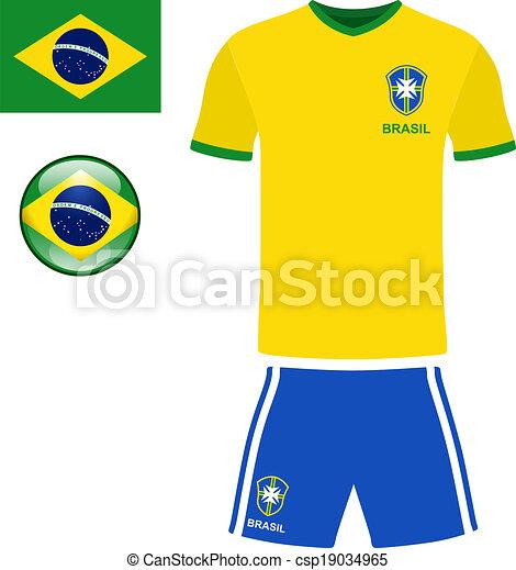 Clip Art Vector of Brazil Football Jersey - Abstract vector image ...