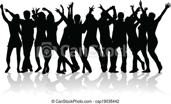 EPS vector de grande, grupo, joven, gente, bailando csp19038442 ...