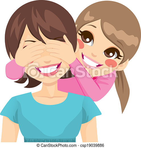 Vector of Daughter Covering Mother Eyes - Little daughter ...