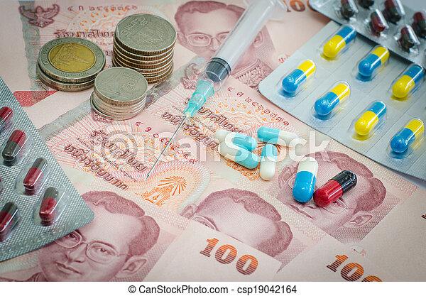Concept of medicine and Thai money  - csp19042164