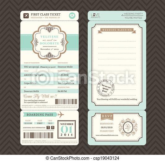 Vintage style Boarding Pass Ticket Wedding Invitation Template Vector - csp19043124
