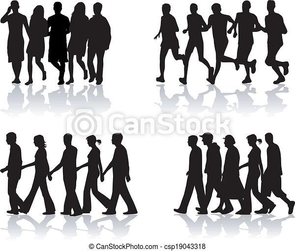 Vector Clip Art of Walking People- vector work 1 ...
