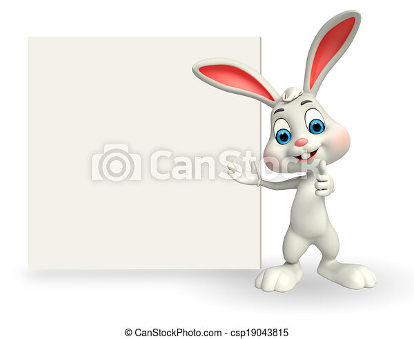 Cute Easter Bunny with sign - csp19043815