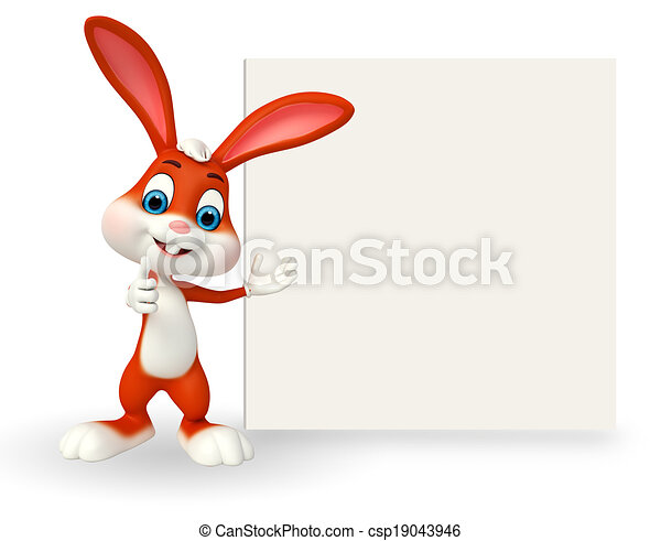 Cute Easter Bunny with sign - csp19043946
