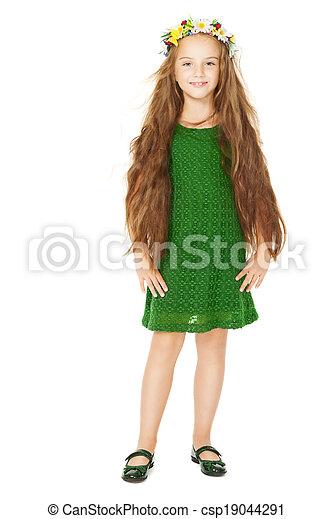 わずかしか, 花, 肖像画, 微笑, ヘアスタイル, 長い間, 隔離された, 緑の毛, 背景, 花, 白いドレス, 女の子, 子供 - csp19044291
