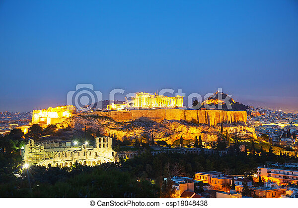 Acropolis in the evening after sunset - csp19048438