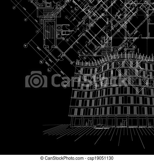 Vectors Of Black Architectural Background With Building