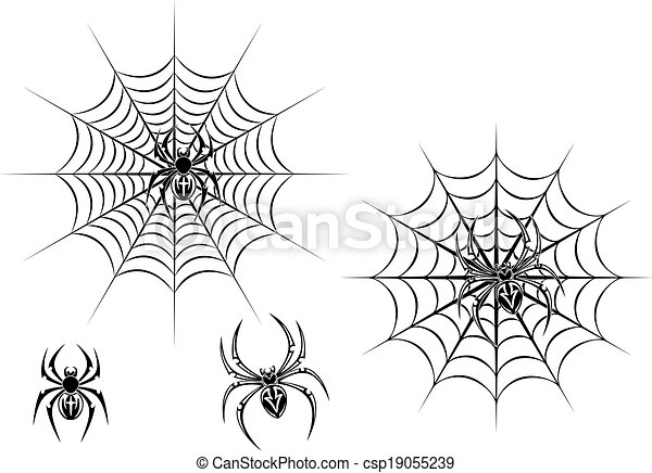 vecteurs de toile noir araign es danger black danger araign es csp19055239. Black Bedroom Furniture Sets. Home Design Ideas