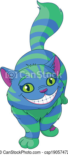 Vectors Illustration of Walking Cheshire Cat - Illustration of ...