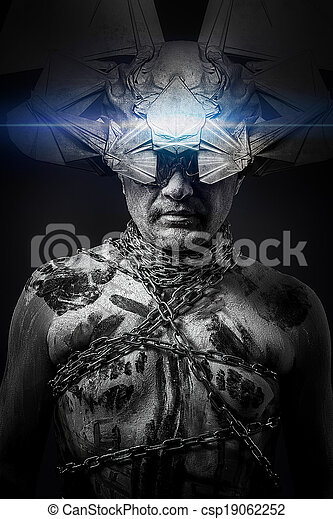 Alien, man chained with fantasy mask - csp19062252