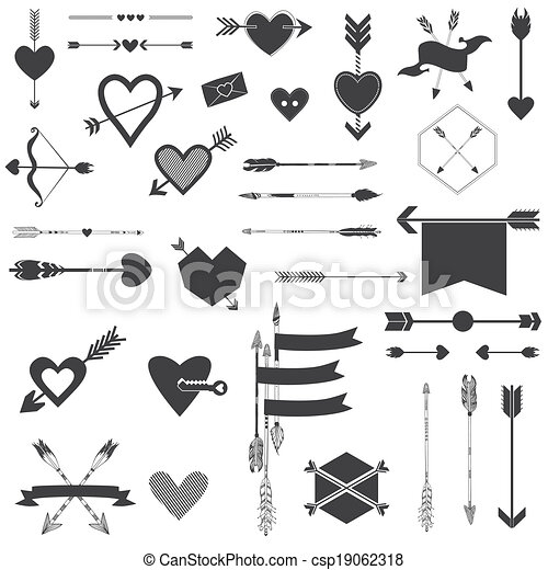 Hearts and Arrows Set - for Valentine's Day, Wedding, Design, Scrapbook - in vector - csp19062318