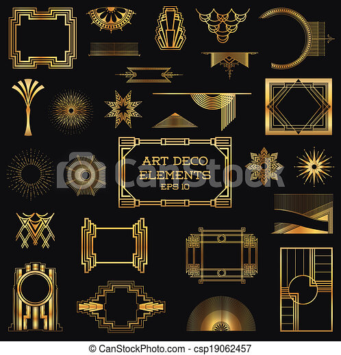 Art Deco Vintage Frames and Design Elements - in vector - csp19062457
