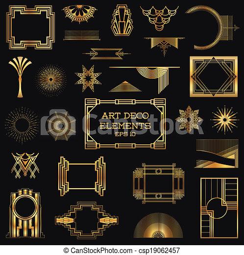 Art Deco Vintage Frames and Design Elements - in vector - csp19062457