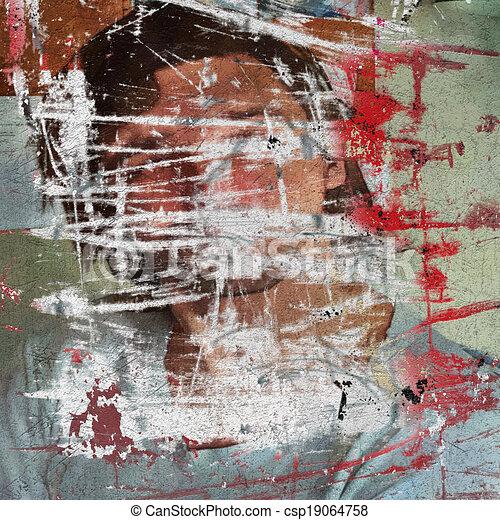 3d graffiti grunge wall with hidden young man boy - csp19064758