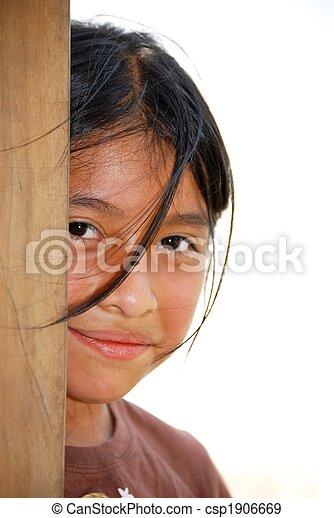 Beautiful Hispanic girl looking at the camera - csp1906669