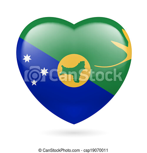 Vector Clip Art of Heart icon of Christmas Island - I love ...
